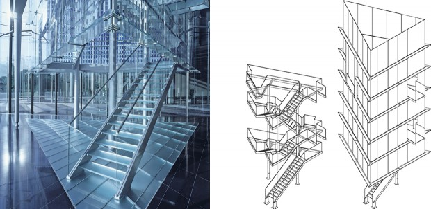 Glass Stair Towers : Carpenter lowings moire tower